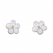Sterling Silver Small Enamelled Daisy stud earrings